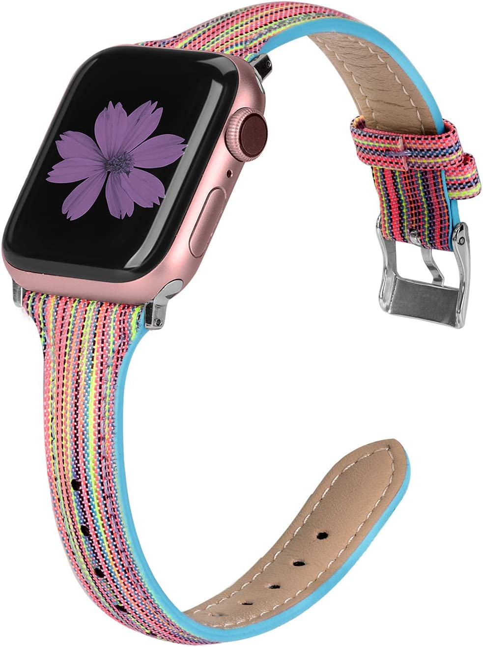 TOYOUTHS Compatible with Apple Watch Band 40mm 44mm Series 5 4 Woven Canvas Fabric Cloth Band Rose Gold Strap Wristband Women Men Compatible with iWatch Series 3 2 1 38mm 42mm, Multicolor, 38mm