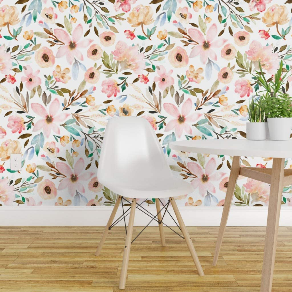 Spoonflower Non Pasted Wallpaper Boho Watercolor Floral Flowers