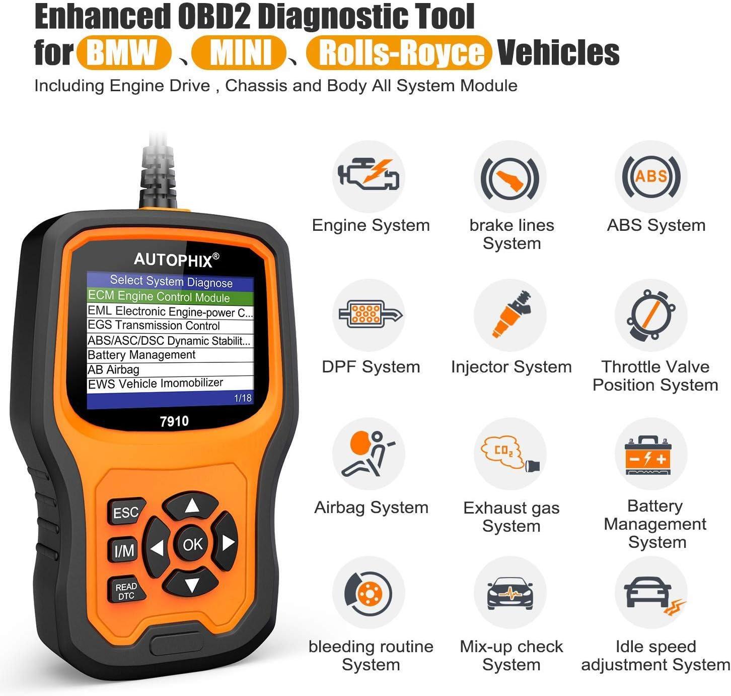 AUTOPHIX Diagnostic Tool,Enhanced 7910 Multi-System OBD2 Scanner Auto Fault Code Reader Battery Registration for All BMW After 1998