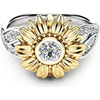 Sunflower Rings for Women, Haluoo Sunflower Cubic Zirconia Ring with Side Stone Copper Leaf Eternity Band Gemstone Birthstone Personalized Engagement Wedding Ring Gift Size 5-13