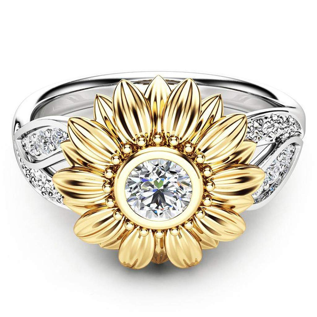 CMrtew 100PC Exquisite Womens Two Tone Silver Floral Ring Round Diamond Gold Sunflower Jewel Couples Rings Bijouterie Rings for Women 9