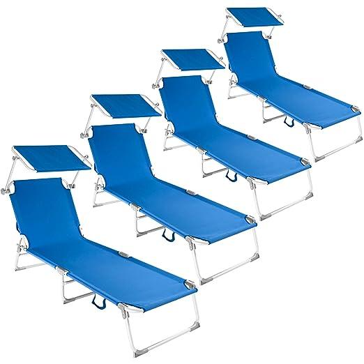 TecTake 800252 - Set 4X Tumbonas de Aluminio, Respaldo Ajustable 4 Posiciones, Incluye Parasol, Ideal para Jardín Playa Piscina (Azul | No. 401554): Amazon.es: Jardín