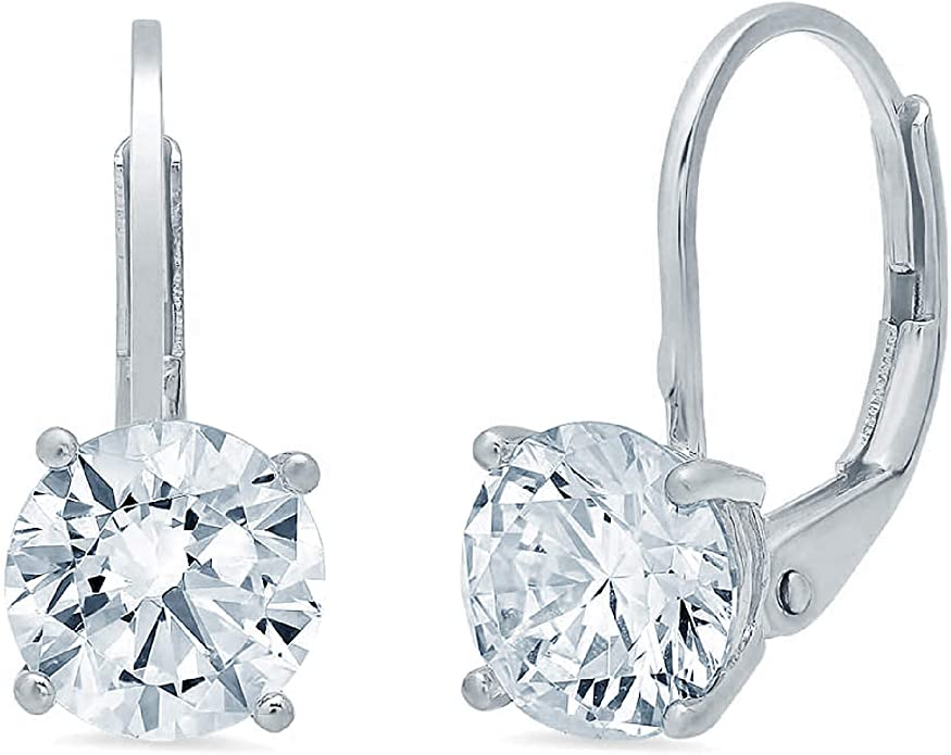 2.10 CT BRILLIANT ROUND CUT CZ Solitaire DROP DANGLE LEVERBACK EARRINGS 14K Yellow GOLD