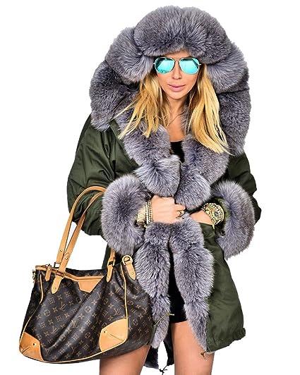 Roiii® Mujeres de Mujer de Invierno de Abrigo Chaqueta Fuerte Parka con Pelo sintético con Capucha Largo 44 - 54: Amazon.es: Ropa y accesorios
