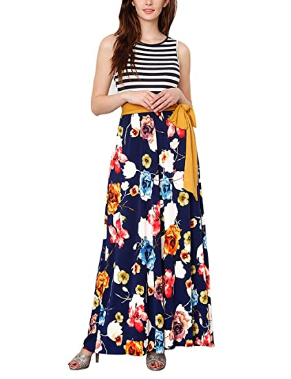 7bc56df66fe GRAPENT Women s Casual Sleeveless Striped Floral Print Belted Maxi Tank Dress  Navy Blue Small (fits