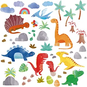 Watercolor Dinosaurs Jurassic Park Peel and Stick Wall Art Sticker Decals for Boys Room / Nursery / Classroom / Playroom