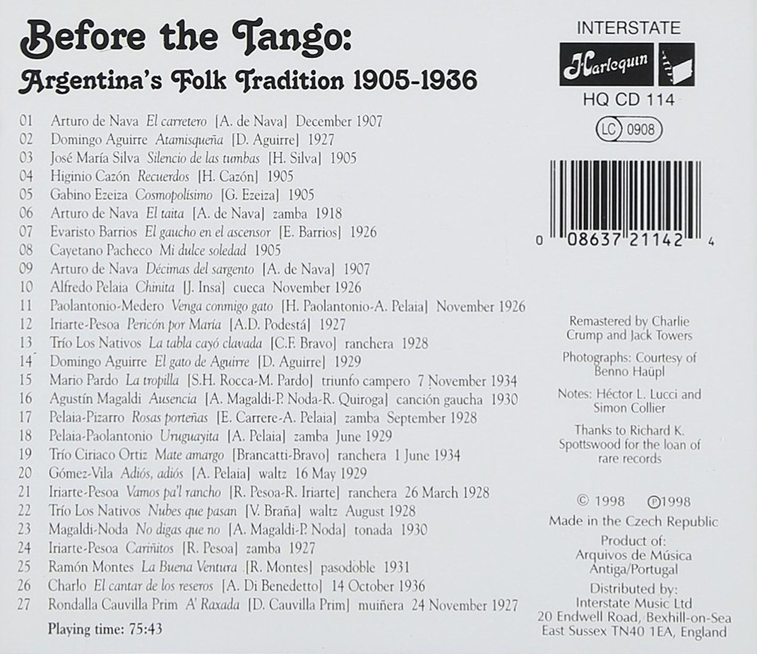 VARIOUS ARTISTS - Before the Tango: Argentinas Folk Tradition - Amazon.com Music