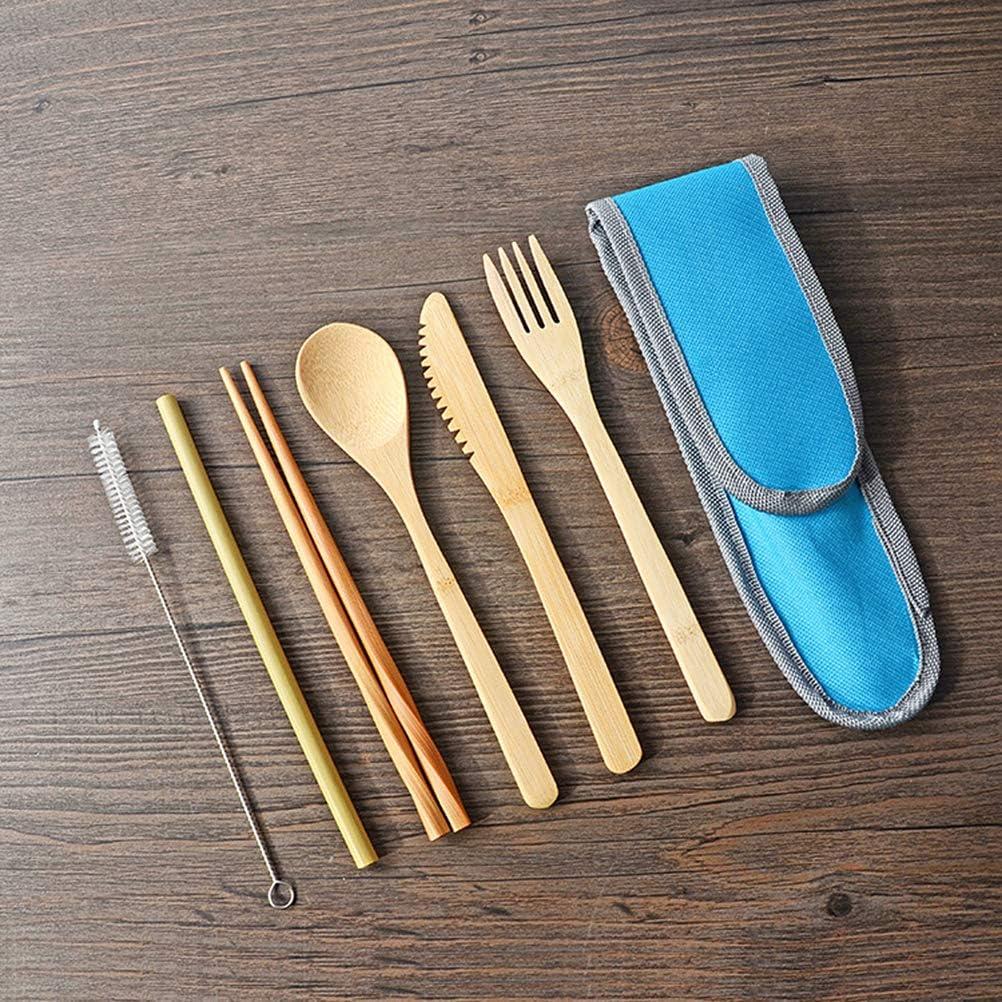 Azul BESTonZON Set de Cubiertos port/átiles de 7 Piezas Juego de vajilla de bamb/ú ecol/ógico Juego de Cubiertos para Servir Comida al Aire Libre