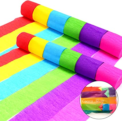 Birthday Party Family Gathering RUBFAC 18 Rolls Crepe Paper Rainbow Streamers 18 Colors Each roll 1.8x 27 Yard Suitable for Backdrop Decorations