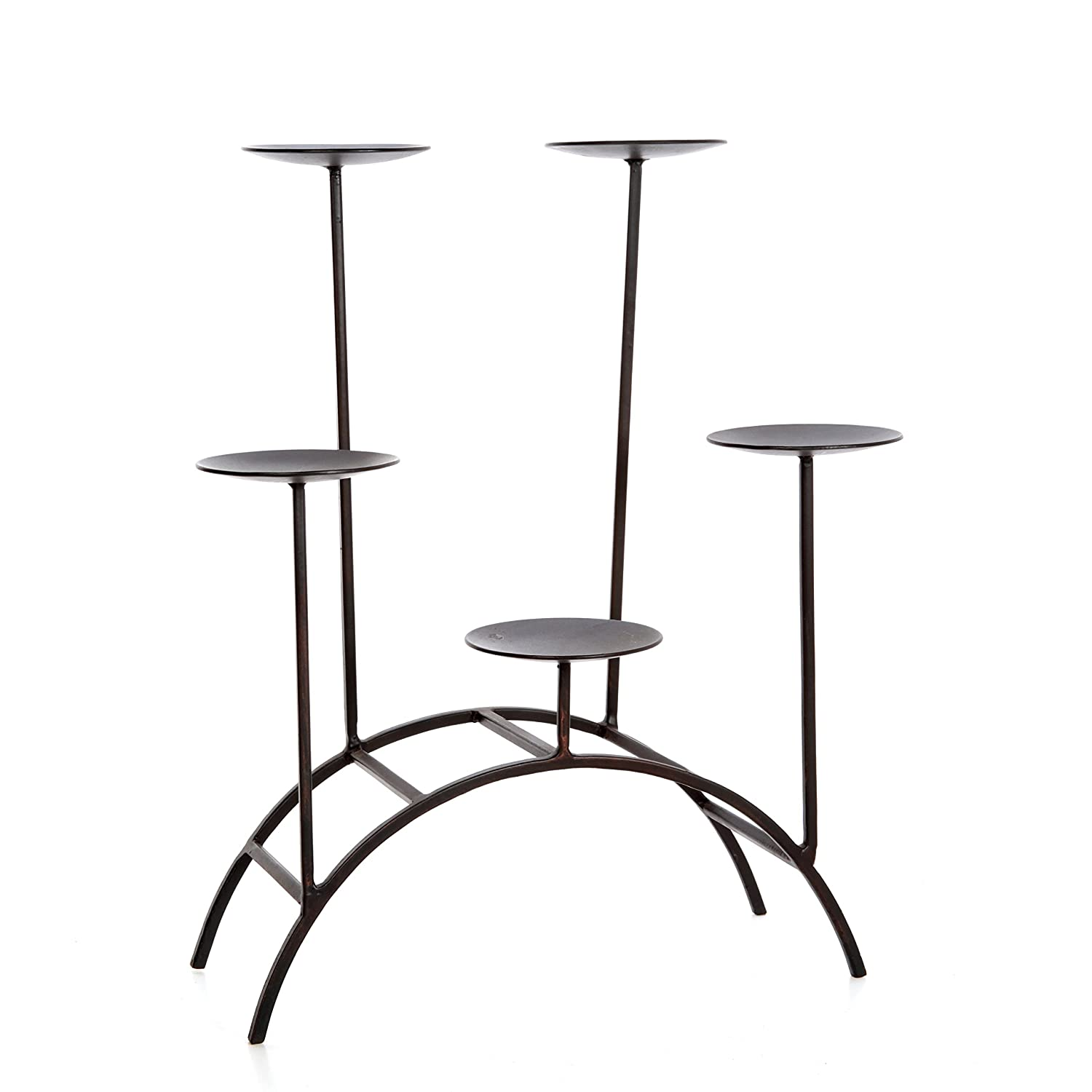 Hosley's Fireplace or Den, 17 Inch Iron 5 Pillar Candleholder. Modern Art, Classic Design, Hand Made By Artisans. Ideal Gift, weddings, Spa, Reiki, meditation, Party, bridal, votive tea light gardens O9. Hosley' s Fireplace or Den HG Global