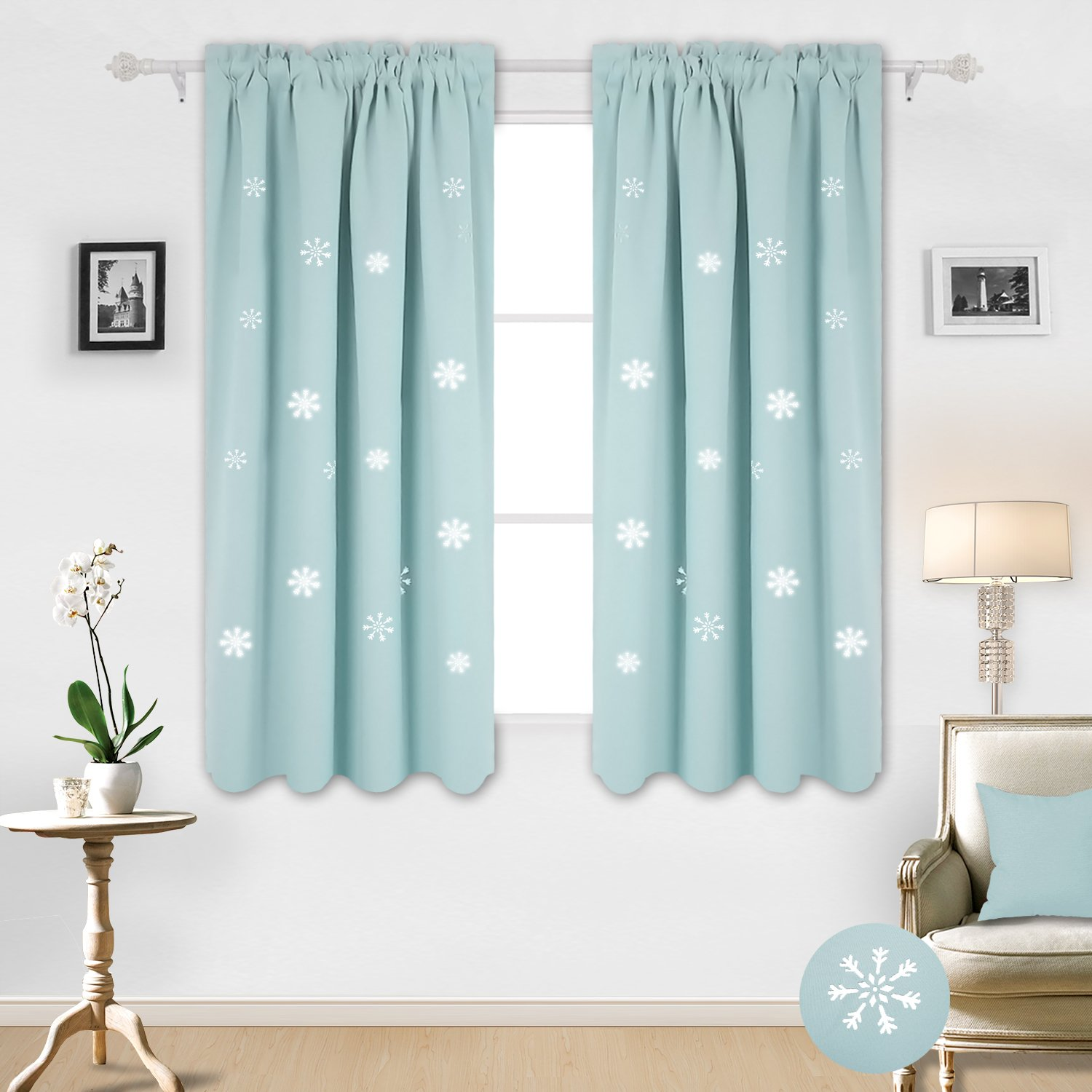 Deconovo Decorative Rod Pocket Thermal Insulated Blackout Curtains for Baby Room with Christmas Die Cut Snowflake 52W x 63L Inch Sky Blue 2 Panels