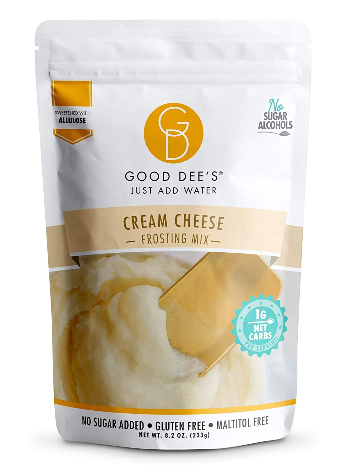 Good Dee's Just Add Water Cream Cheese Frosting Mix - Low Carb Keto Frosting Mix (60 Calories, 1g Net Carb Per Serving) | Gluten-Free, Sugar-Free & Maltitol-Free | Diabetic, Atkins Friendly
