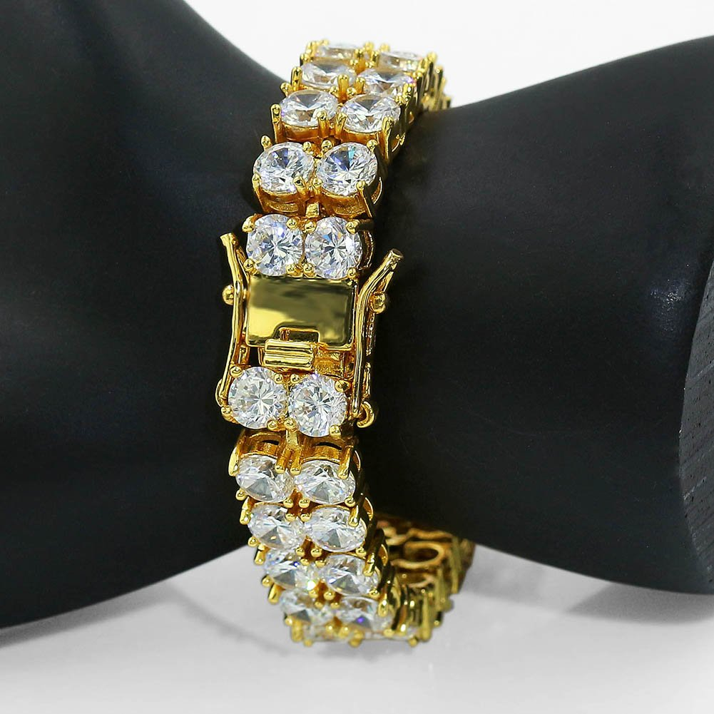 "JINAO 2 Rows AAA Gold Silver Iced Out Tennis Bling Lab Simulated Diamond Bracelet 8"" (Gold) by JINAO (Image #3)"
