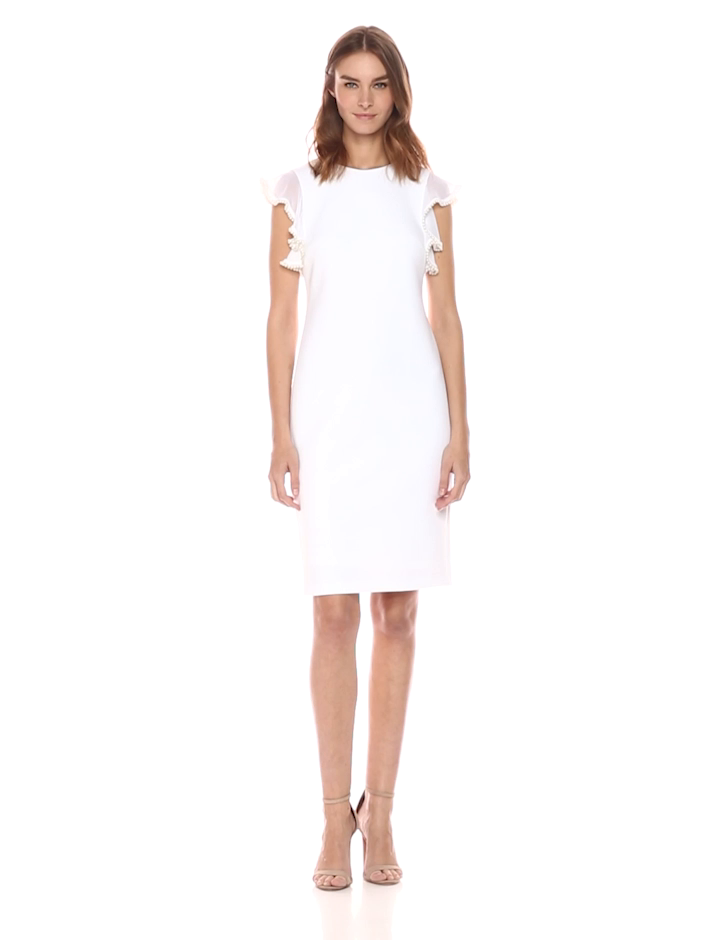 Calvin Klein Women's Solid Sheath With Pearl Detailed Flutter Sleeve Dress