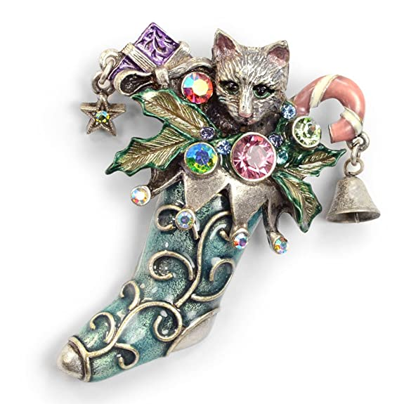 Cat Christmas Stocking Pin, Christmas Kitty Brooch (Silver and Bronze)