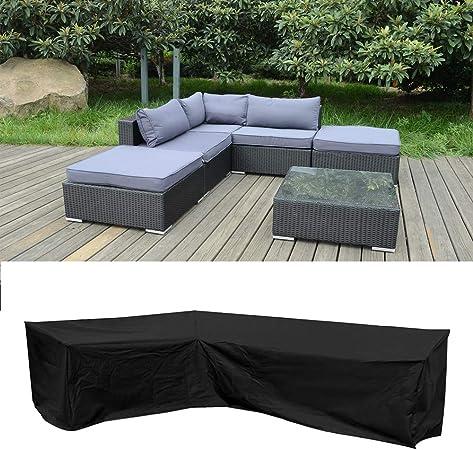 Tonver - Funda protectora para sofá de esquina de patio, resistente al agua, resistente al polvo, para muebles de jardín, negro, 215x215x60x80cm: Amazon.es: Hogar