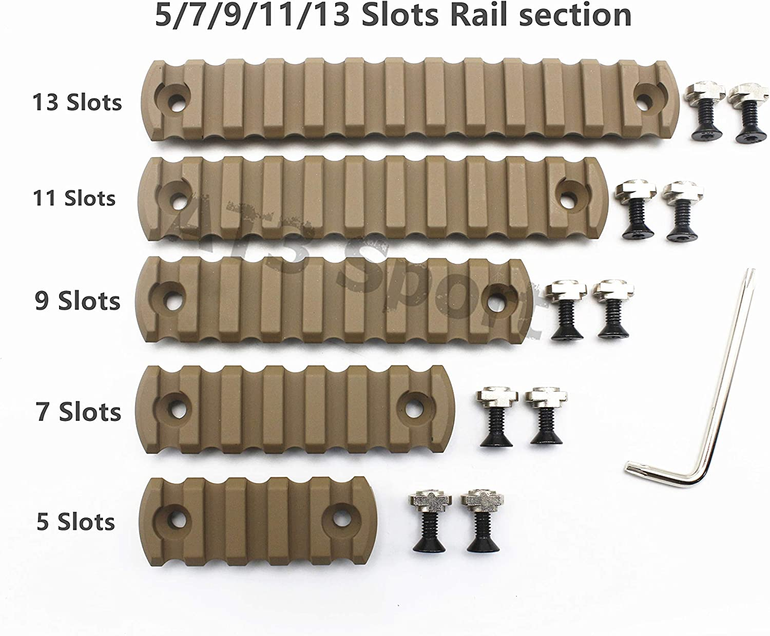 5//7//9//11//13 Slots M-lok Rail Section Picatinny//Weaver Segment Mount/_Tan Printed