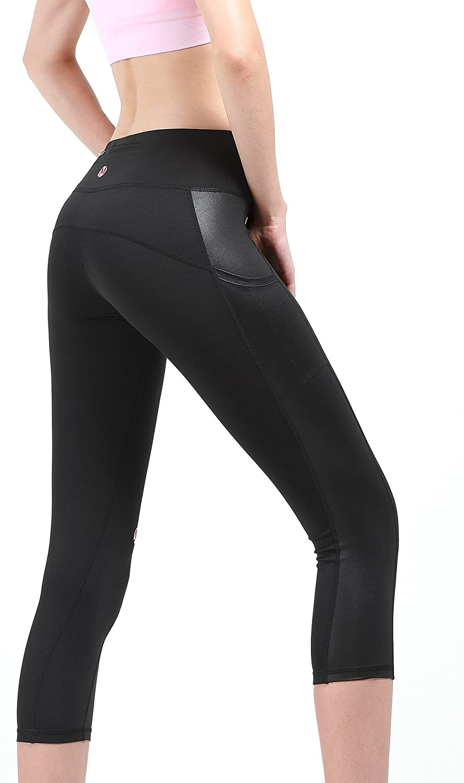 MYoga Womens High Waist Yoga Pants Workout Running Capri Leggings Active Athletic Leggings with Side Pockets