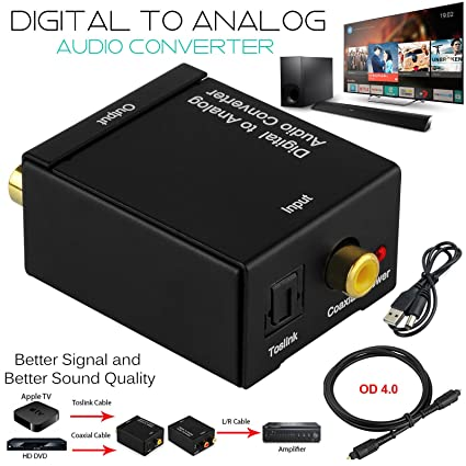 KSRplayer Digital Audio Converter Optical SPDIF Toslink Coaxial to Analog RCA L/R Adapter with