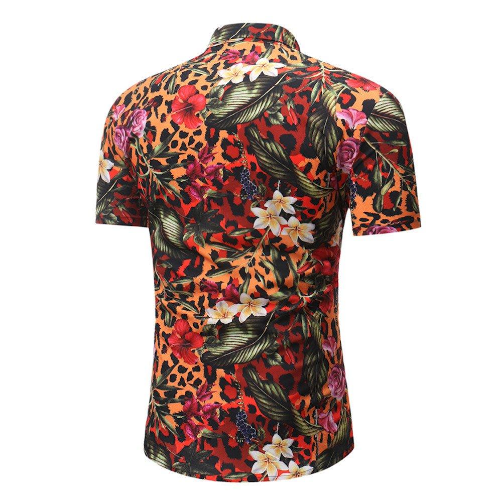 zitan Mens Button Down Shirts Slim Fit Floral Print Casual Shirt Hawaiian Floral Print Short Sleeves Blouse
