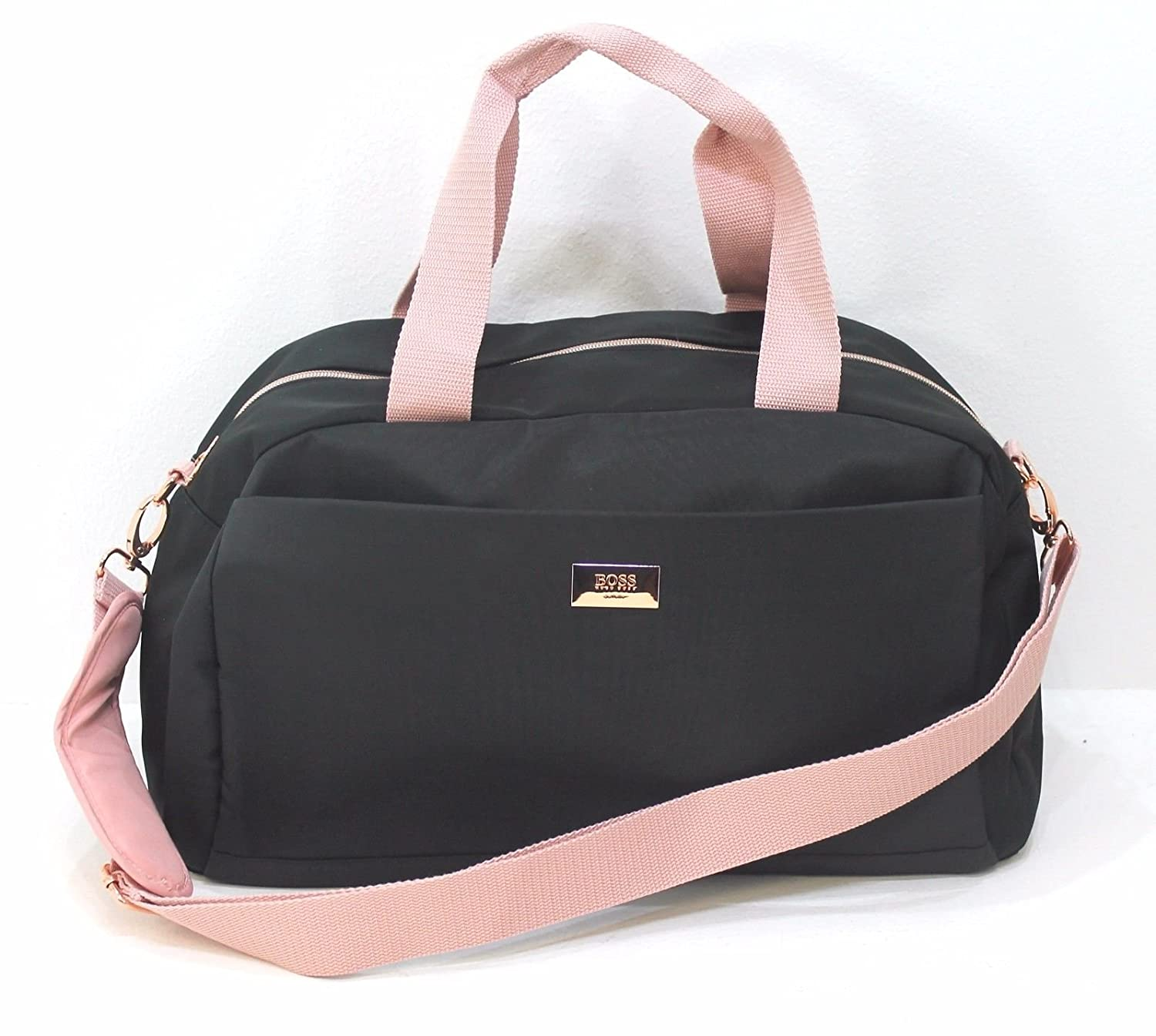 cc96c62ffbcb HUGO BOSS LADIES PINK AND BLACK DESIGNER GYM BAG CASUAL OVERNIGHT WEEKEND  TRAVEL BAG