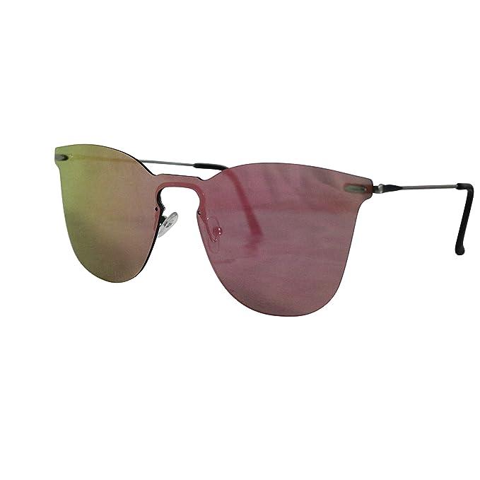 FERETI Gafas De Sol Mujer Rosa Sin Montura Espejo Vintage ...