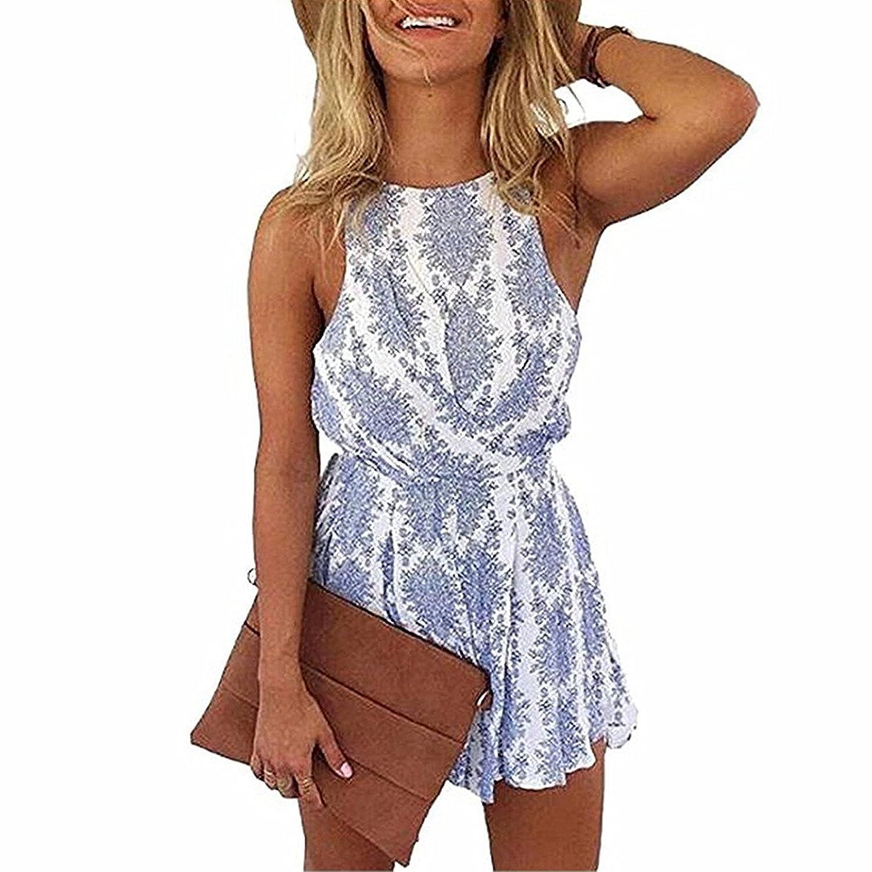 58dbec614c Hot Sale 2019 Damen Jumpsuits, L'ananas Frauen Sommer Boho Overalls Blau  Blumen Muster