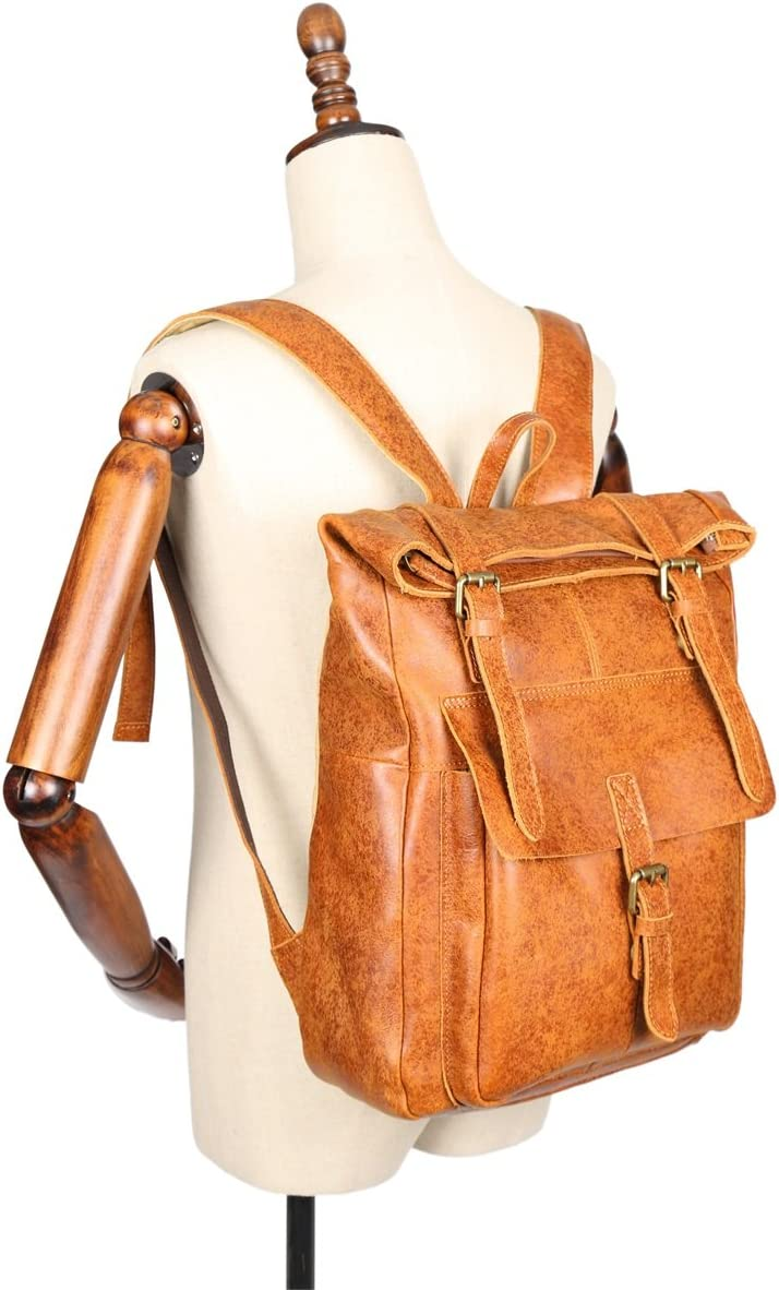 Color : Brown, Size : L Lydianzishangwu Mens Backpack Flashpoint Leather Neutral Backpack Travel Bags First Layer Leather