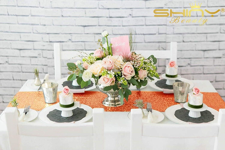 banquete o decoraci/ón dorado Camino de mesa ShinyBeauty de lino con lentejuelas brillantes 30 x 180/cm para mesas de fiesta boda 30x180cm color rosa con borlas