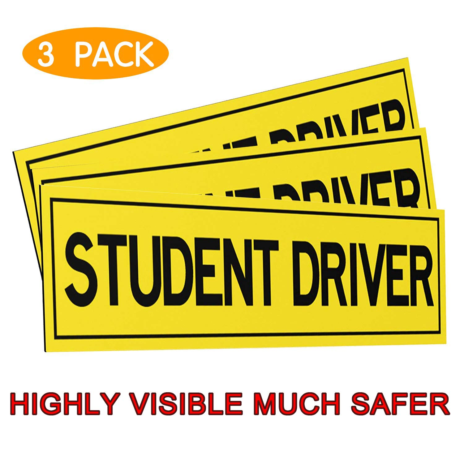 Amazon com boka student driver magnet car signs reflective vehicle bumper magnet set of 3 magnetic bumper sticker for new driver novice in yellow