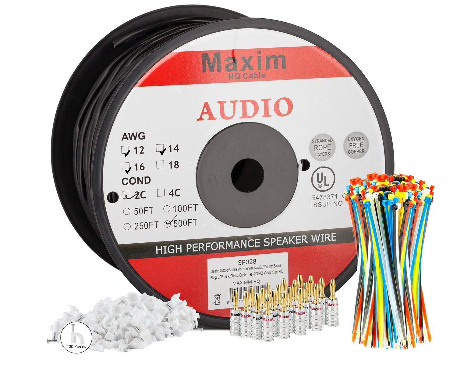Maximm Outdoor Speaker Wire - 500 Feet - 12AWG CL3 Rated 2-Conductor Wire - Black , Pure Copper - Banana plugs, Cable clips and ties Included