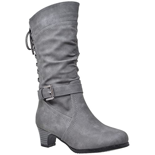 f25da78aae5 Generation Y Kids Girls Knee High Boots Corset Lace Up Back Buckle Strap  Low Heel Shoes GY-KB-JOE-55