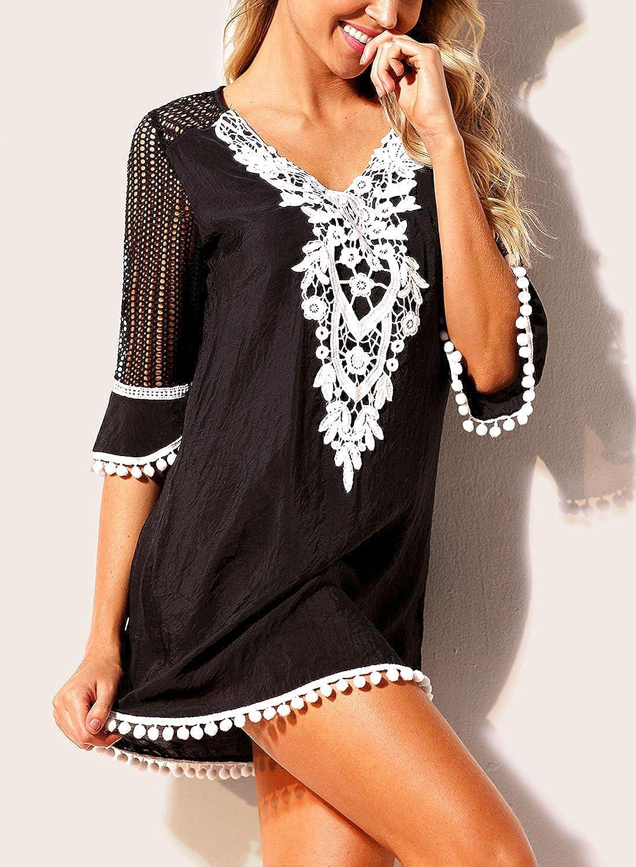 221ec557ae FIYOTE Women Pom Pom Trim Tassel Lace Crochet Swimwear Beach Cover Up at  Amazon Women's Clothing store: