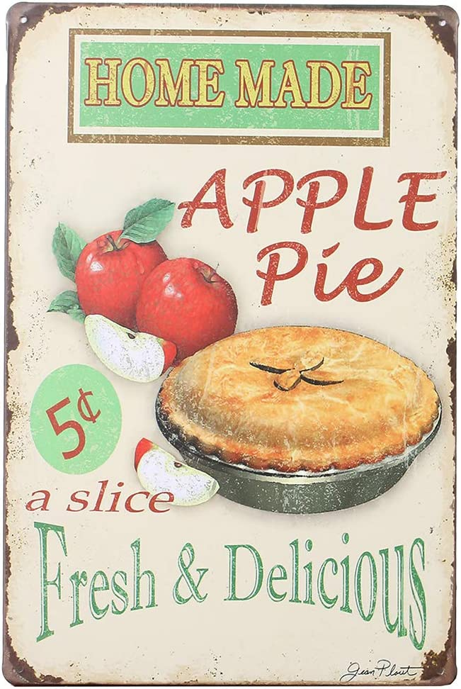 OTARTU Vintage Apple Pie Tin Signs Kitchen Decor,Wall Decorative Sign for Snack,Bakery,Coffee Shop,1158