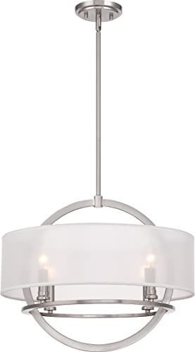 Quoizel PTD2820BN Portland White Organza Pendant Ceiling Lighting, 4-Light, 240 Watts, Brushed Nickel 17 H x 20 W