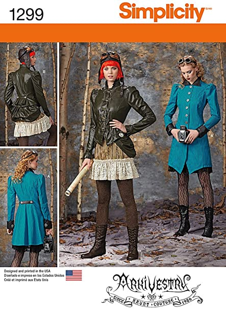 Steampunk Sewing Patterns- Dresses, Coats, Plus Sizes, Men's Patterns Simplicity ArkiVestry Pattern 1299 Misses Costume Coat Jacket Bustle and Ruffled Skirt in 2 Lengths Size 6-8-10-12 $9.48 AT vintagedancer.com