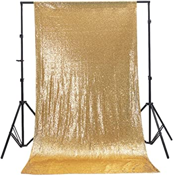 TRLYC Rose Gold 4ftx7ft Sparkly Party Photo Booth Backdrop Wedding Sequin Backdrop Fabric
