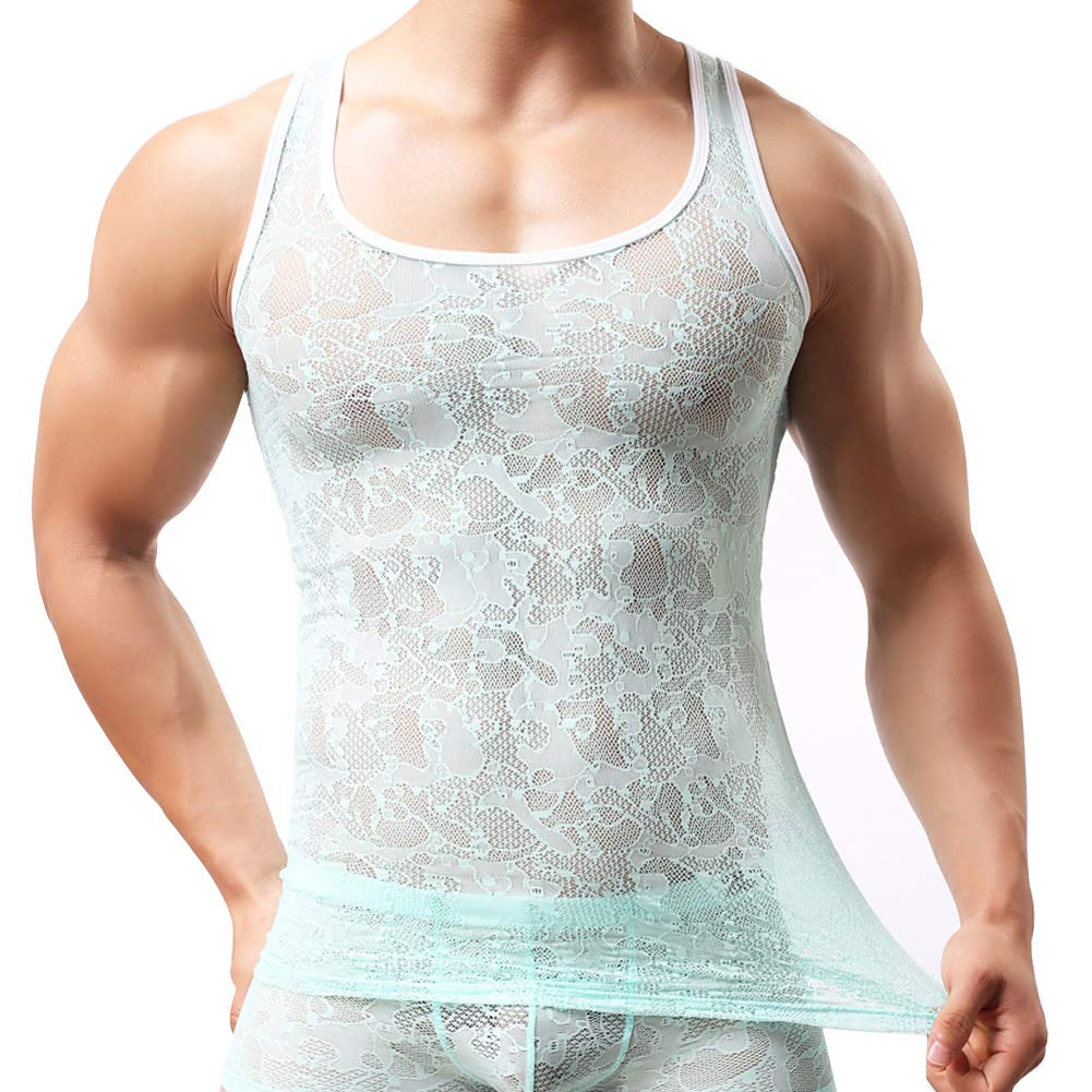 AIEOE Mens Lace See Through Sheer Sleeveless Shirts Mesh Stretch Vest Tank Top