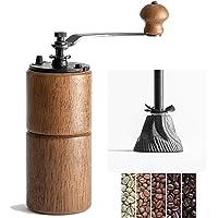 Akirakoki Manual Coffee Bean Grinder Wooden Mill with Cast Iron Burr, Large Capacity Hand Crank, Portable Travel Camping…