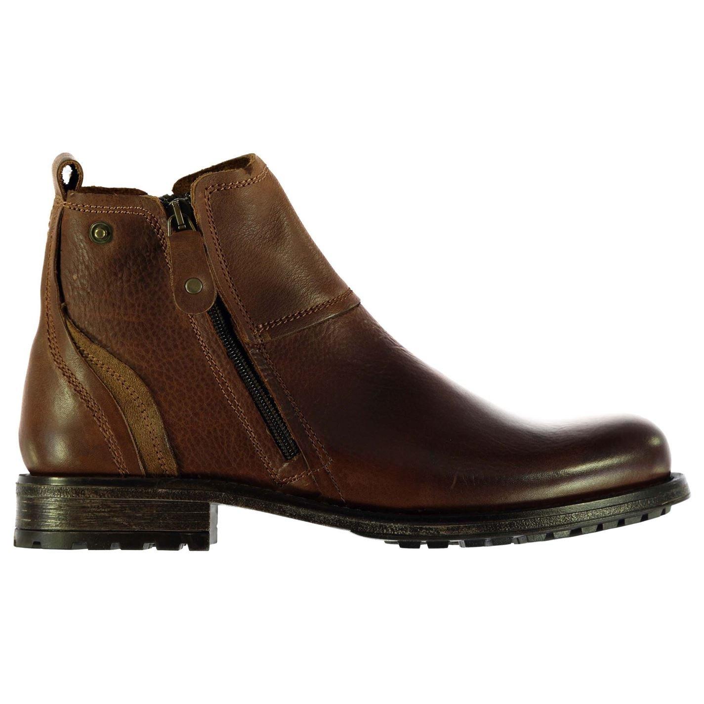 Firetrap Mens Jinx Smart Boots Double Side Zip Fastening Shoes Small Heel Tan UK 7 (41)