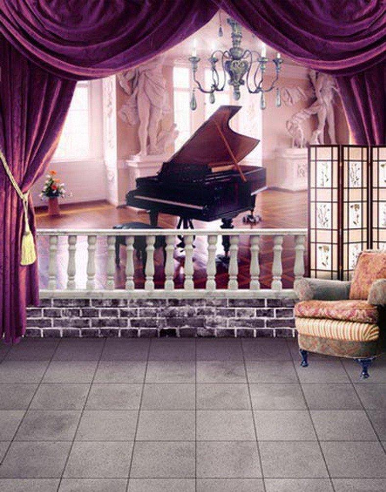 A Monamourウェディングインドア画像Shooting Backdrops部屋ピアノ壁床スタジオ小道具5 x 7ftビニール   B01N01LH6Z