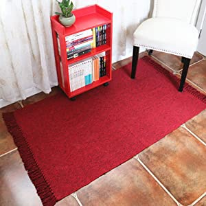Woven Cotton Area Rug with Tassels, HiiARug Decorative Area Rug Entryway Thin Throw Mat for Laundry Room Living Room Bedroom 3'x5'