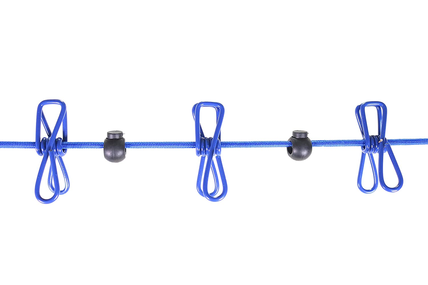 Kinekulle Portable Travel Clothesline Elastic Adjustable with 12 Stainless Steel Clothespins for Outdoor and Indoor Use Blue Comes with 5 Compressed Towels and one portable bag