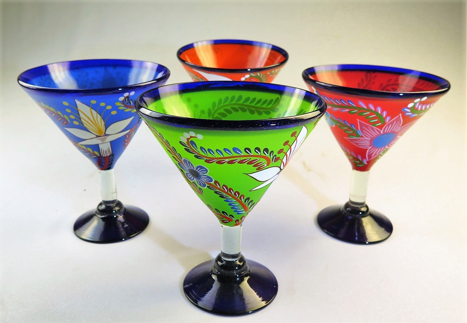 Mexican Glass Margarita Martini Hand Painted Flowers, Mixed, 14 Oz, Set of 4