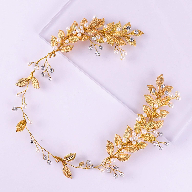 Golden Leaf Headband Bridal Head Ornaments Pearl Rhinestone Wedding Hairband Bride,Gold-Color