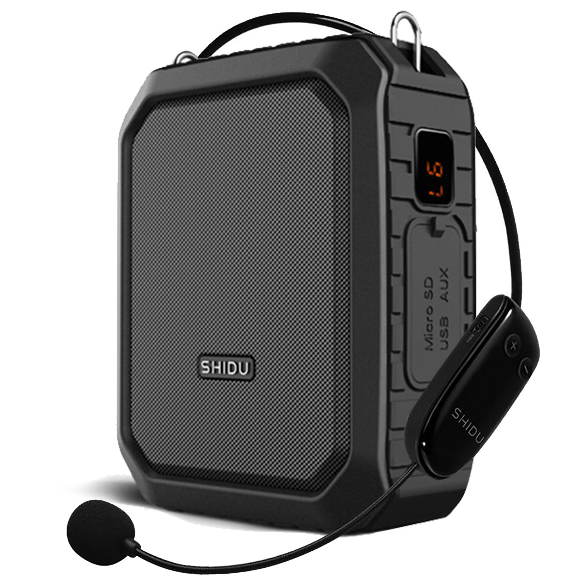 Voice Amplifier Bluetooth Loudspeaker with Wire Headset Mic, Voice Saver Waterproof Personal 18 Watts Big Power Pa System for Outdoor/Teachers/ Yoga Instructors/Coaches/ Elderly/Tour Guide (Black) SHIDU Digital RB-800