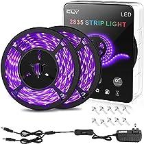 33ft//10M UV Black Light Strip,GLIME Black Light Beads 600 UnitsUV LED 12V Flexib