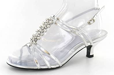 b6320fb78fc Spot On Extra Wide Fit Diamante Strappy Heeled Sandal (Silver