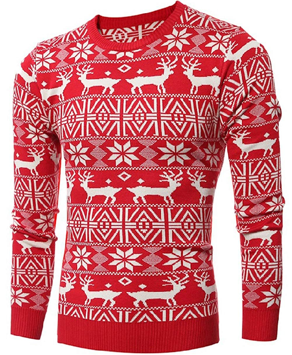 LETSQK Mens Ugly Christmas Sweater Snowflake Reindeer Knitted Long Sleeve Pullover
