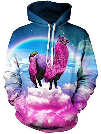 0527429023e TUONROAD Youth   Adult Unisex Fit Hoodies Sweaters Colorful Rainbow Starry  Galaxy Sky Amaranth Purple Alpaca